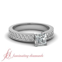 1/2 Carat Princess Cut Diamond Solitaire Georgian ...
