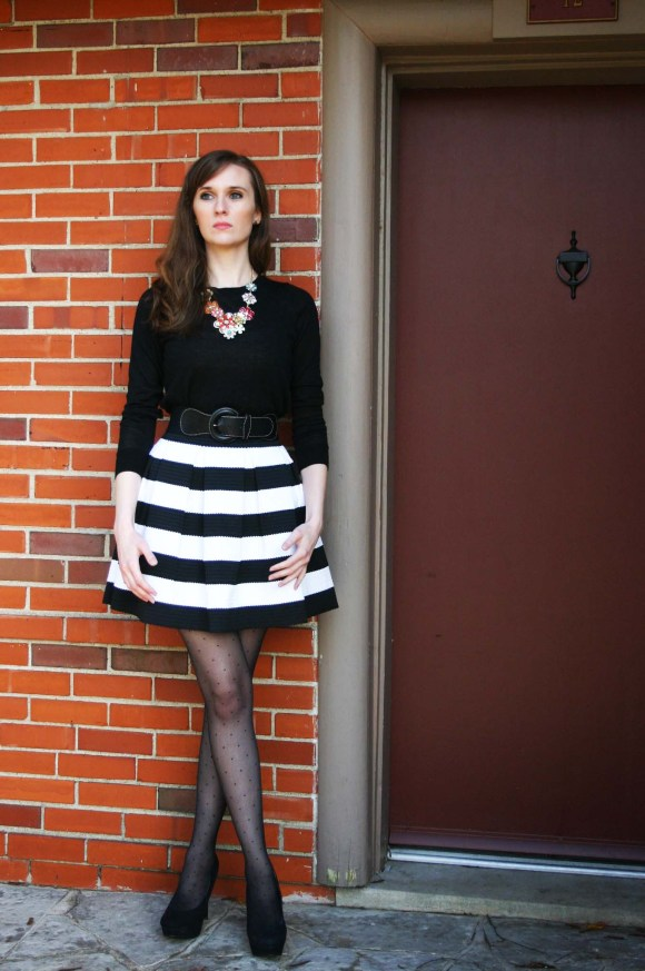 Emily from FBC- This black and white striped skirt from Express is just what this work look needed!