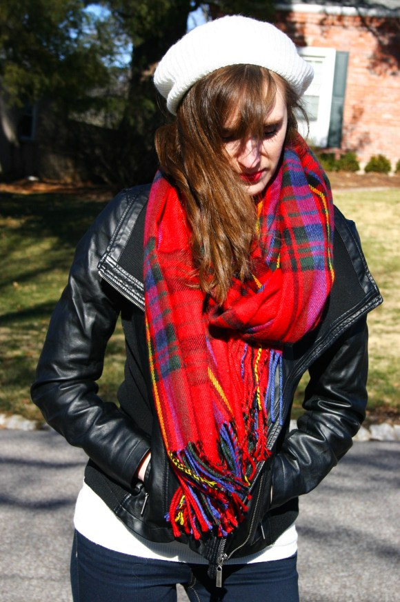 Emily from Fashion By Committee- AE jeans, Target jacket, sweater, boots, and scarf