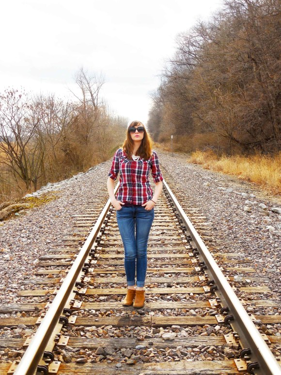 Emily from Fashion By Committee- Target plaid shirt and necklace, American Eagle jeans, Old Navy booties and hat