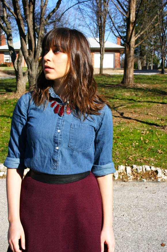 Jeanne FBC Burgundy Midi Skirt Chambray Shirt Red Statement Necklace Black Booties 3