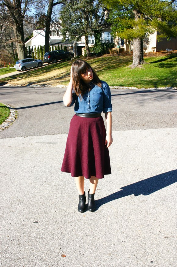 Jeanne FBC Burgundy Midi Skirt Chambray Shirt Red Statement Necklace Black Booties 4