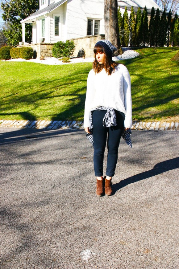 Jeanne FBC H&M oversized white sweater navy pants gingham shirt brown booties banana republic hat 1