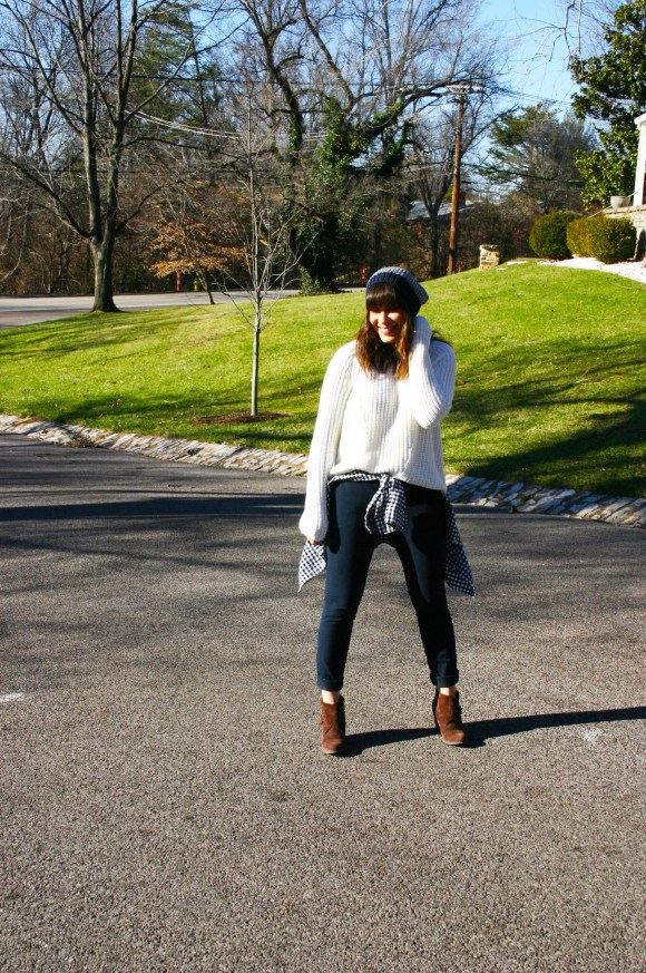 Jeanne FBC H&M oversized white sweater navy pants gingham shirt brown booties banana republic hat 3