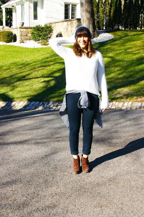 Jeanne FBC H&M oversized white sweater navy pants gingham shirt brown booties banana republic hat 5
