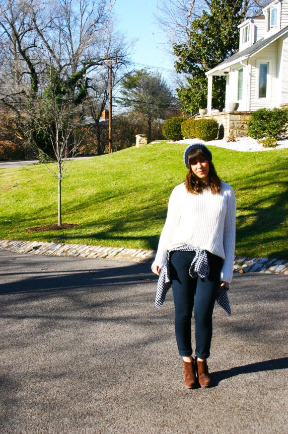 Jeanne FBC H&M oversized white sweater navy pants gingham shirt brown booties banana republic hat 7