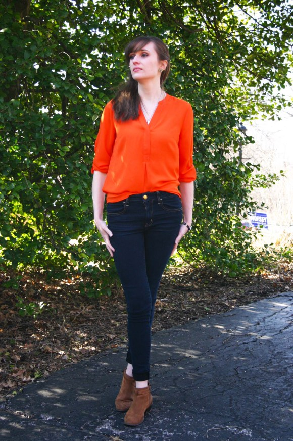 Emily from Fashion by Committee- Limited orange top, AE jeans, Old Navy boots, Betsey Johnson eye earrings, Hot Topic TARDIS necklace