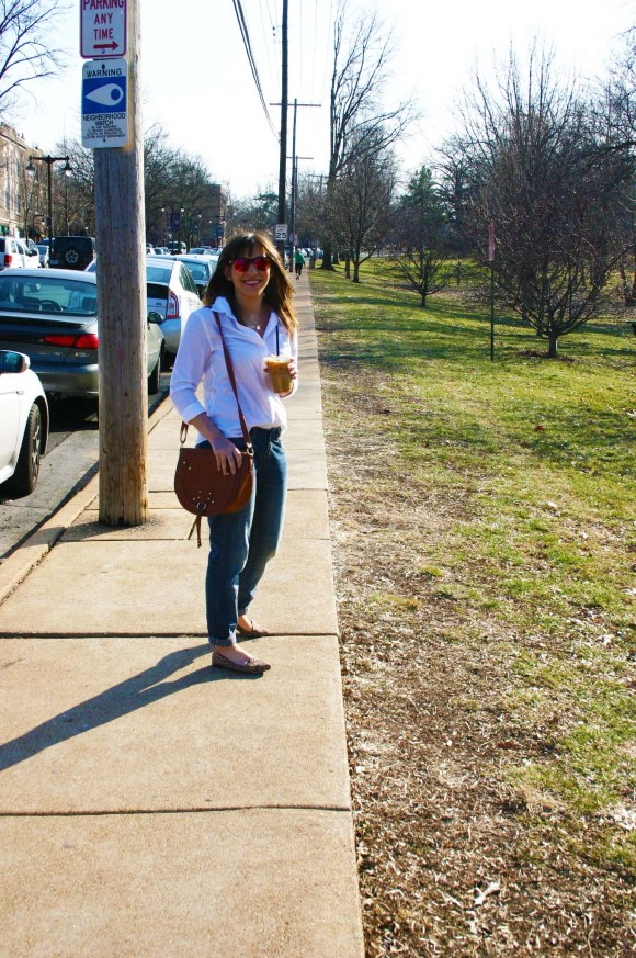 Jeanne FBC Banana Republic Riley White Button Down Target Who What Wear Boyfriend Jeans Ellie Leopard Loafers Brown Saddle Bag Gold Layered Necklaces Kaldi's Coffee Perfect Shopping Outfit  8