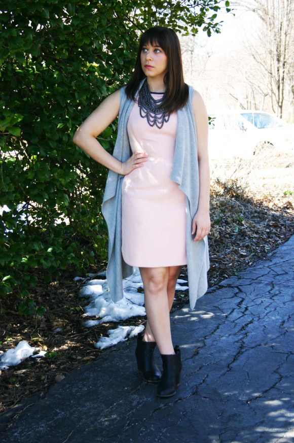 Jeanne FBC Blush Sheath Dress Banana Republic Factory Gray Waterfall Vest Steve Madden Black Chelsea Boots BaubleBar Country Bib Hematite Necklace 2