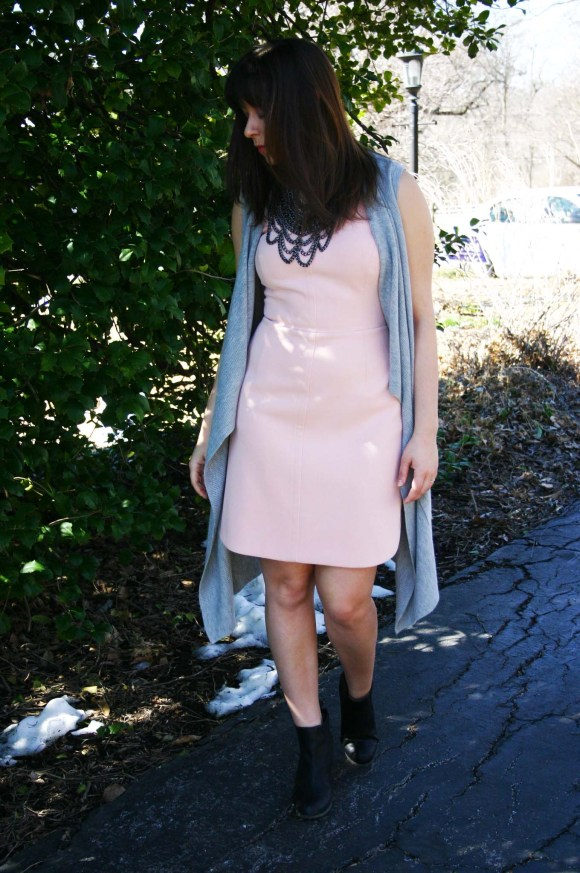 Jeanne FBC Blush Sheath Dress Banana Republic Factory Gray Waterfall Vest Steve Madden Black Chelsea Boots BaubleBar Country Bib Hematite Necklace