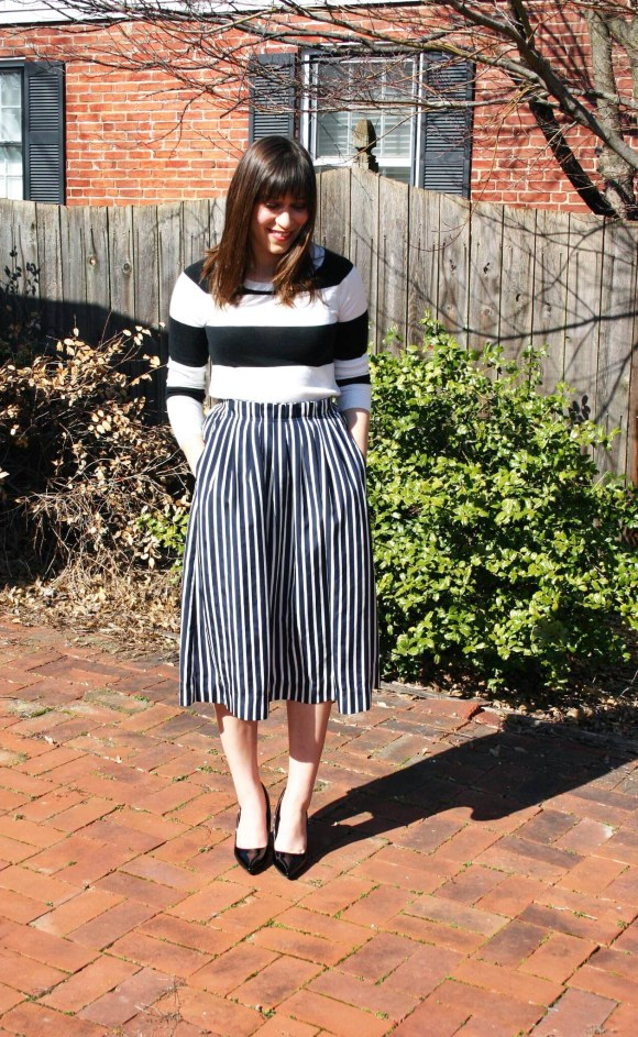 Jeanne FBC Stripes on Stripes Horizontal Verticle Target Black and White Sweater Midi Skirt Patent Heels Rebel Spring 7