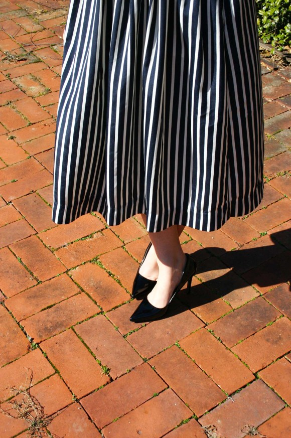 Jeanne FBC Stripes on Stripes Horizontal Verticle Target Black and White Sweater Midi Skirt Patent Heels Rebel Spring 9