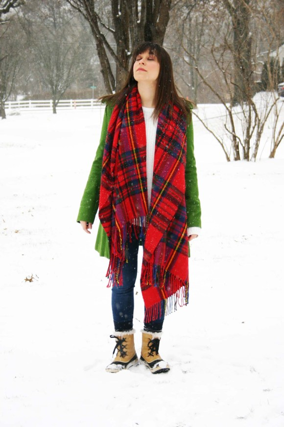 Jeanne FBC green wool coat Target red plaid scarf white H&M knit sweater LOFT legging jeans Sorel Tivoli Boots Snow Day Winter 2