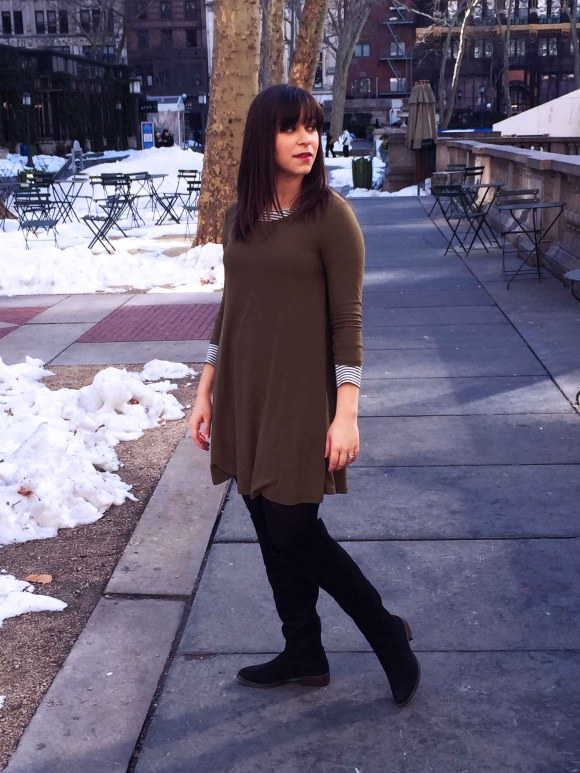 Jeanne FBC olive swing dress LOFT striped shirt black tights sole society Andie OTK boots 6