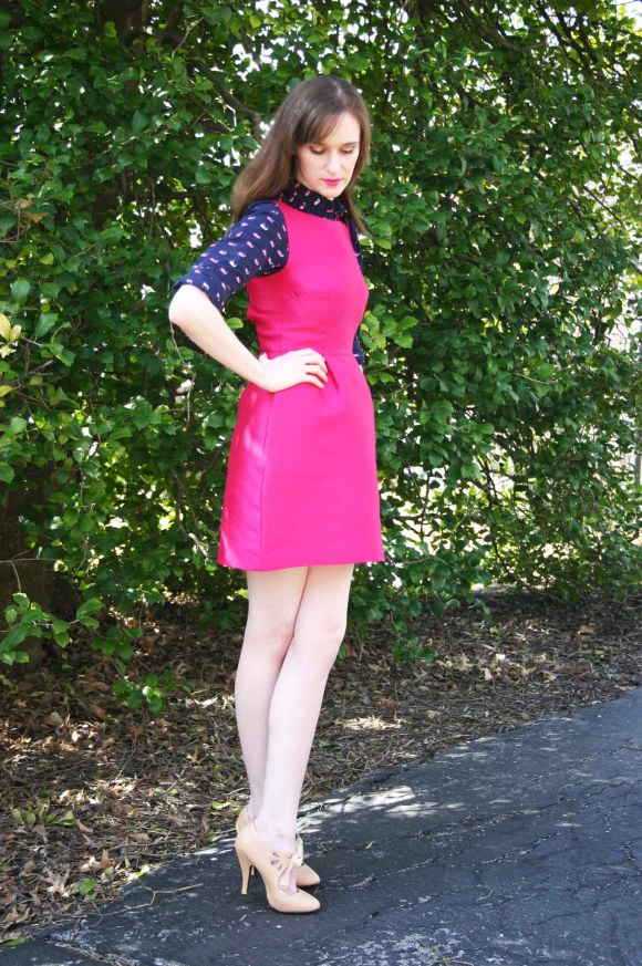 Emily from Fashion By Committee- Kate Spade cocktail dress, Target whale print button down blouse, Kohl's Dolce by Moxie nude bow pumps