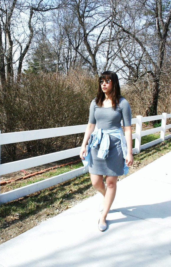 Jeanne FBC Old Navy gray t-shirt dress Target Chambray Shirt Silver Loafers LOFT rose gold retro sunglasses 9