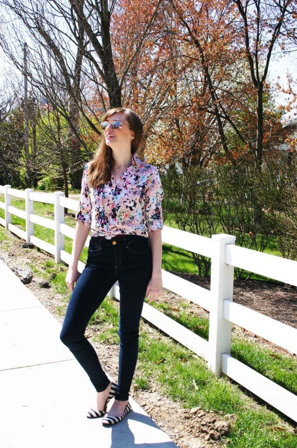 Emily from Fashion By Committee- Express Portifino button down blouse, American Eagle skinny jeans, LOFT rose gold sunglasses, Target striped ballet flats