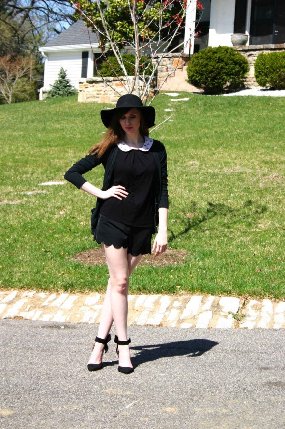 Emily from Fashion By Committee- Francasca's Eastan Scalloped Shorts, Target Mossimo black cardigan, Kohl's Elle Peter Pan collar top, SheIn bow ankle pumps