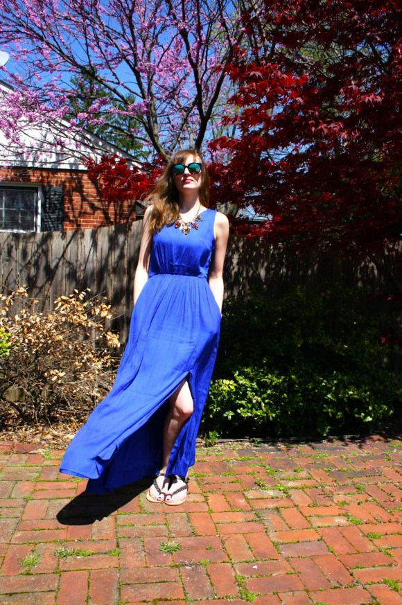 Emily from Fashion By Committee- Banana Republic Goddess maxi dress, Paper Dolls statement necklace, Call It Spring sunglasses, Target braided sandals