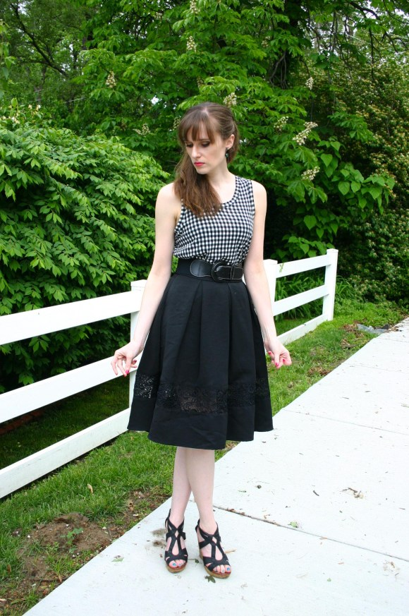 Emily from Fashion by Committee- What What Wear For Target gingham top, black Express circle midi skirt, Target cork wedges, green Kendra Scott ear jackets