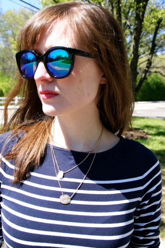 Emily from Fashion By Committee- Milly for Kohl's midi floral pencil skirt, H&M navy striped tee, Call It Spring sunglasses, Charming Charlie druzy drop necklace and Sagittarius zodiac necklace, and Target Mossimo pointy toe blue flats