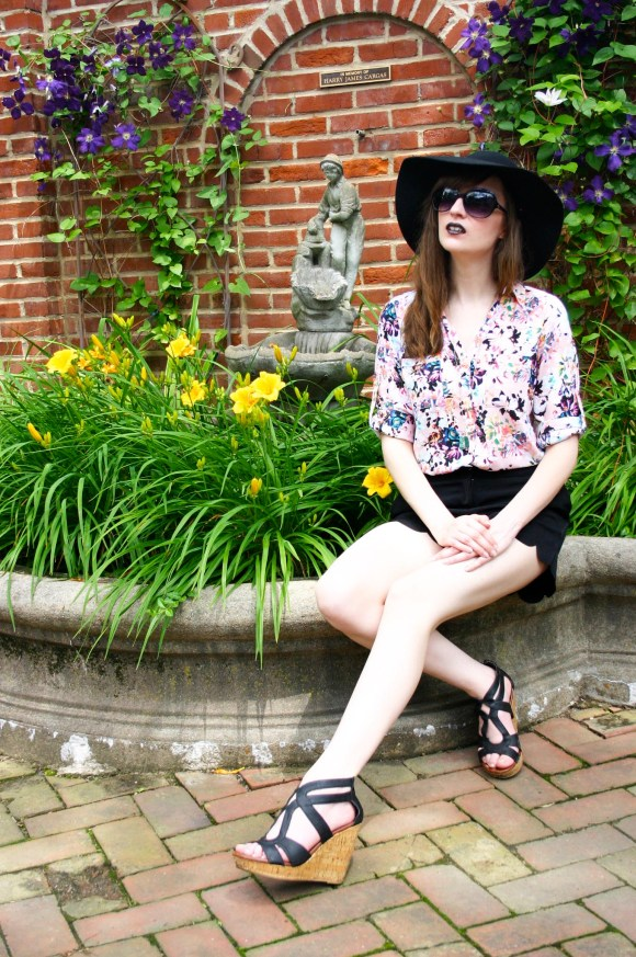 Emily from Fashion By Committee- Express Portifino blouse, Francesca's black scalloped shorts, Target Dolce Vita wedges, Charming Charlie druzy drop necklace, Kohl's Apt. 9 black floppy hat, Covergirl Katy Kat Matte lipstick in Perry Panther