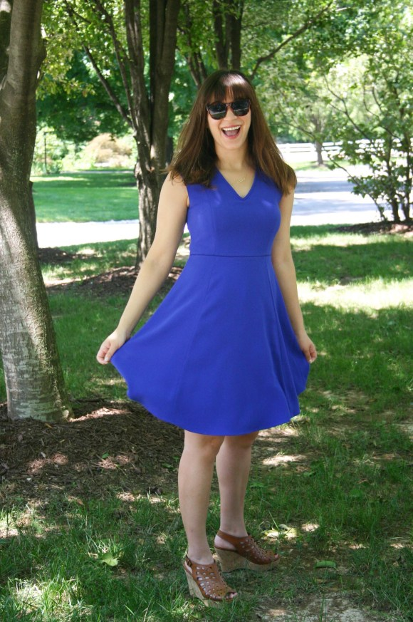 Jeanne FBC ann-taylor-blue-crepe-dress-cognac-wedges-gold-bar-necklace 1