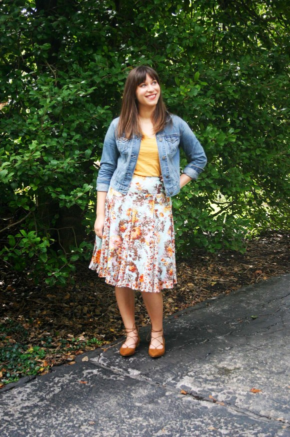 Jeanne FBC floral-midi-flared-skirt-madewell-whisper-cotton-tee-yellow-old-navy-cropped-demin-jacket-target-brown-lace-up-flats-gold-bangle-bracelet 5