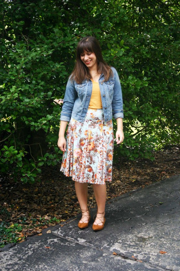 Jeanne FBC floral-midi-flared-skirt-madewell-whisper-cotton-tee-yellow-old-navy-cropped-demin-jacket-target-brown-lace-up-flats-gold-bangle-bracelet