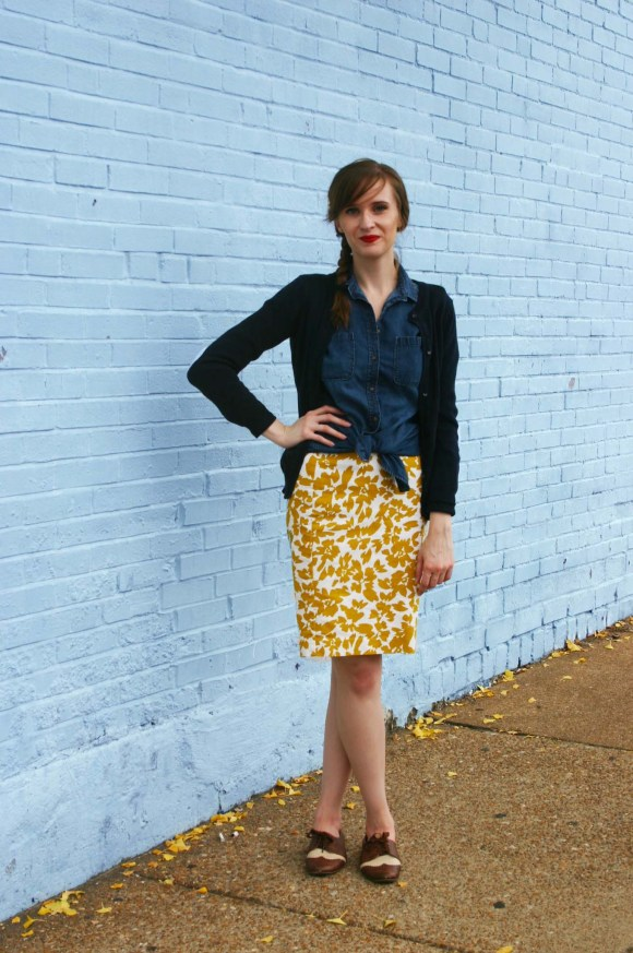 Emily from Fashion By Committee- LOFT mustard skirt, Target chambray shirt, oxfords
