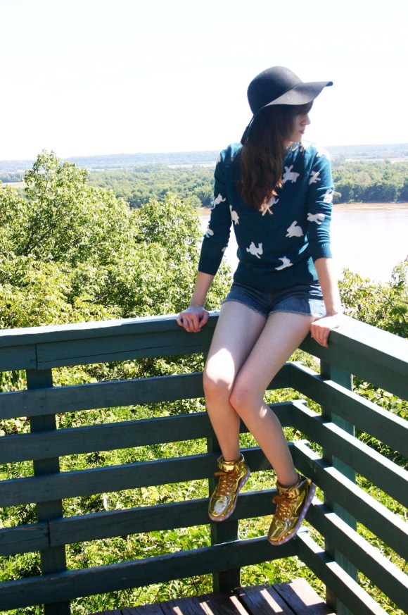 Emily from Fashion By Committee- LOFT rabbit sweater, Target denim shorts, Kohl's Apt. 9 black floppy felt hat, Odema gold light up hi tops, Kendra Scott Necklace