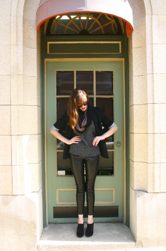 Emily From Fashion By Committee- Express faux-leather leggings, Target shirt, ombre infinity scarf, Forever 21 blazer, Charming Charlie cat eye sunglasses, Fergalicious cut out booties