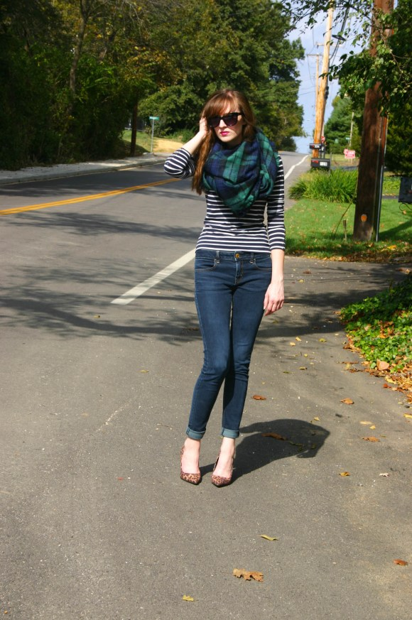 Emily from Fashion By Committee- H&M striped top, American Eagle jeans, Target blanket scarf and leopard print heels