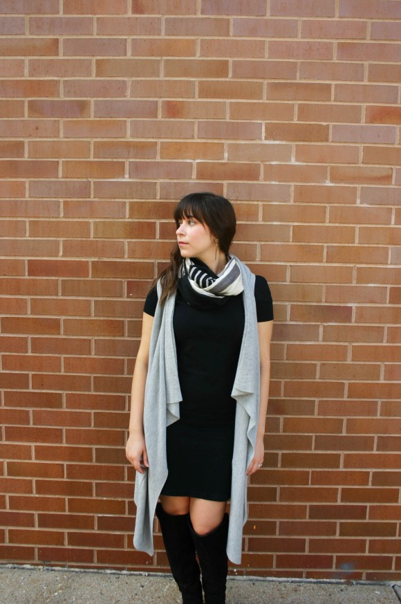 jeanne-fbc-old-navy-black-tee-dress-gray-waterfall-draped-vest-hm-patterened-tube-scarf-sole-society-andie-over-the-knee-boots-gold-tassel-earrings-fall-fashion-1