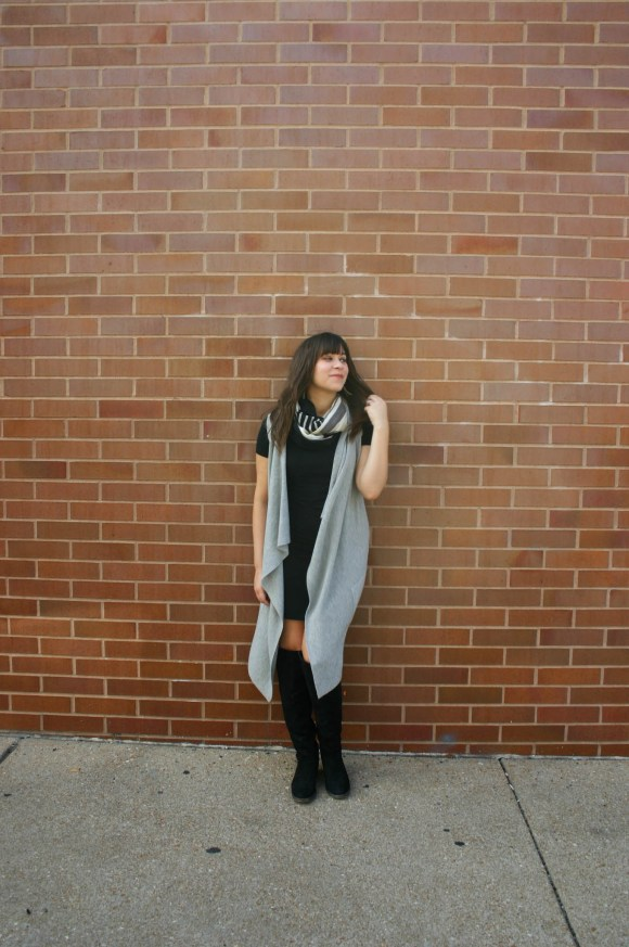 jeanne-fbc-old-navy-black-tee-dress-gray-waterfall-draped-vest-hm-patterened-tube-scarf-sole-society-andie-over-the-knee-boots-gold-tassel-earrings-fall-fashion-5