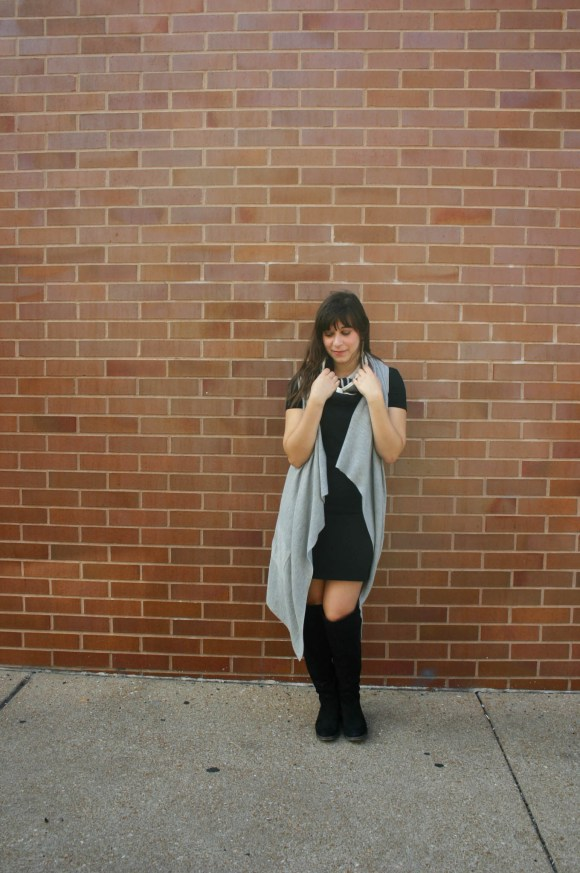 jeanne-fbc-old-navy-black-tee-dress-gray-waterfall-draped-vest-hm-patterened-tube-scarf-sole-society-andie-over-the-knee-boots-gold-tassel-earrings-fall-fashion-7