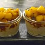 Riz au lait, pommes et caramel au beurre salé
