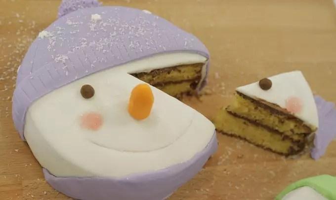 G teau bonhomme de neige en vid o - Bonhomme de neige en laine ...