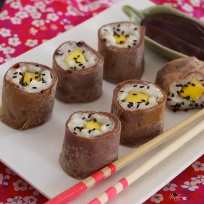 Makis sucrés coco, mangue, chocolat