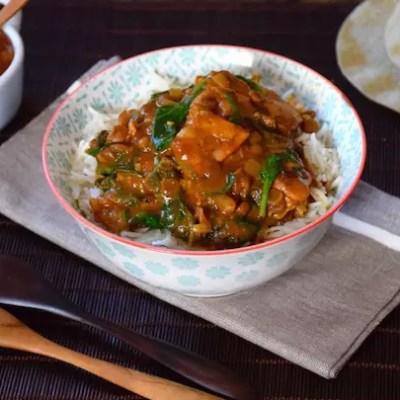 Curry de poulet lentilles-épinards