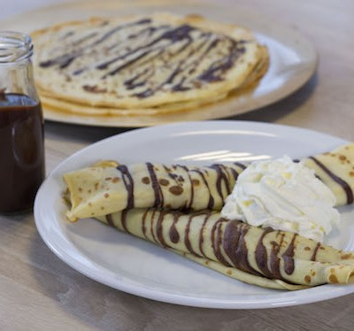 Crêpes rayées chocolat-poire