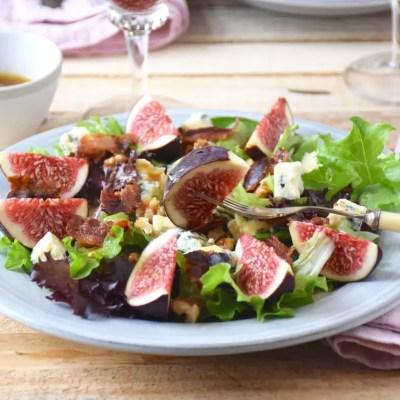Salade figues roquefort noix