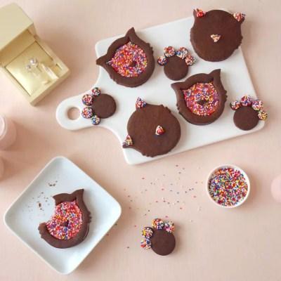 Chocolate raspberry cat cookies