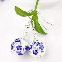 Ceramic Blue White Dangle Earrings - FashionCrab.com