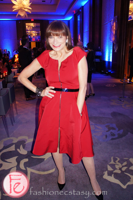 Jeanne Beker wearing Lida Baday dress, Jimmy Choo shoes, Rebekah Price bracelet, Tony Scherman earrings from the 50s