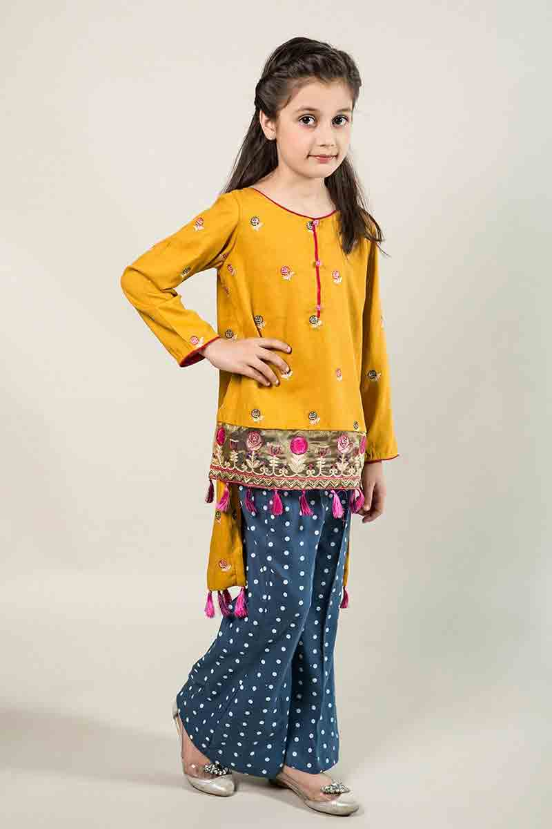 maria b kids party wear dresses kids wedding dresses Latest yellow and blue short shirt with trouser for Pakistani little girls Mariab kids party dresses