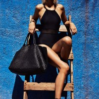 Luisa Hartema Models Black & Gold Swim Looks for Telva