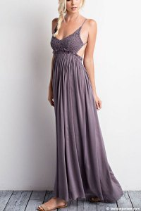 Backless Open Back Crochet Maxi Full Length Bridesmaid