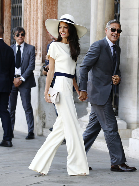 Amal Got Married In A Pant-Suit To George Clooney