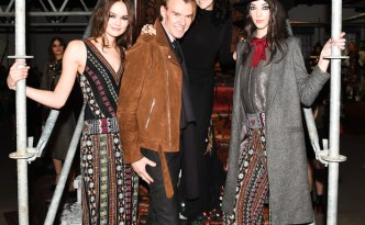 Ken Downing, Senior Vice President and Fashion Director of Neiman Marcus with Stacey Bendet, CEO and Creative Director of alice + olivia at the alice + olivia Fall 2016 presentation during New York Fashion Week